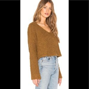 Free People Popcorn Textured Cropped Knit Sweater